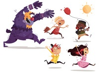 Monster kids textured 02 animate attach