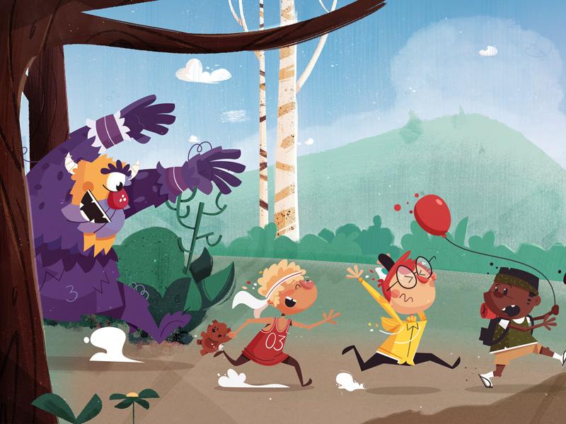 Monster chase scene scared children kids running balloon trees background bugs bunny chase monster