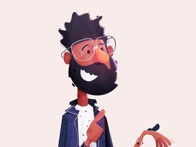 Character design happy pointing character character design illustration glasses curly beard