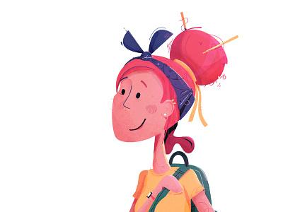 Bi-lingurl (it's like bilingual and girl at the same time) adventure explore happy culture pack backpack character illustration hair bandana headband