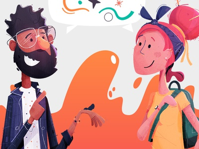 Conversational friends chat talking conversation characters backpack glasses bandana happy friends