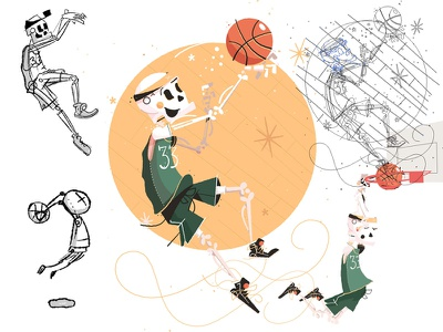 Skully Basketball Process character skeleton nba headband sports dunk basketball work in progress wip sketch process