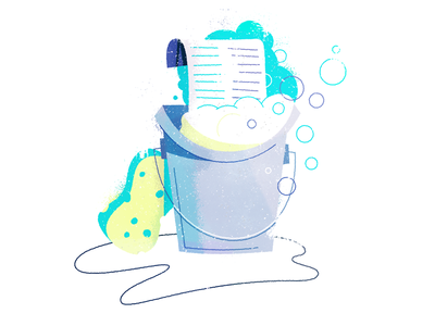 Cleaning yer lists sponge list mailchimp water soap bucket massachusetts boston illustration automation email