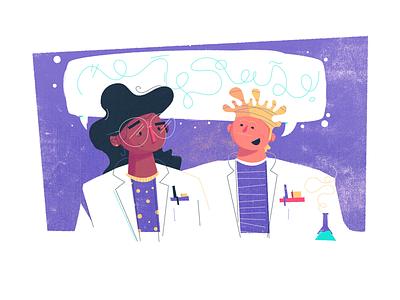 Science says illustration boston character design character happy conversation beaker science scientist