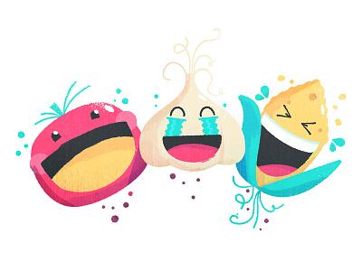 Food Emojis Laughing illustration onion tomato corn food farm veggies vegetables :d lol crying laughing