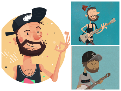 Progress work in progress tank top portrait beard hat character design character process wip progress