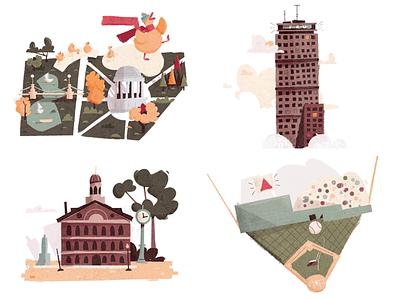 Boston landmarks landmark illustrated map map massachusetts red sox baseball fenway quincy prudential duck boston common boston