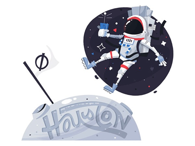 Houston luna lunar texas houston lettering flag moon spaceman astronaut space
