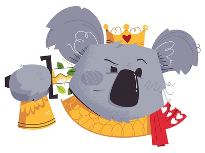 Suicide King Koala sword royal royalty bear playing cards cards club spade ace king suicide king koala