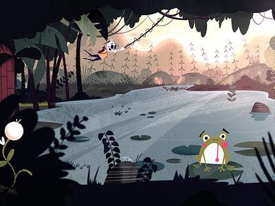 Skully swing keyframe lighting sunset pond lake nature vine rope tarzan swamp jungle animation keyframe