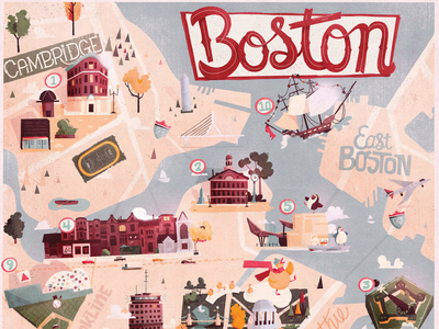Boston illustrated map