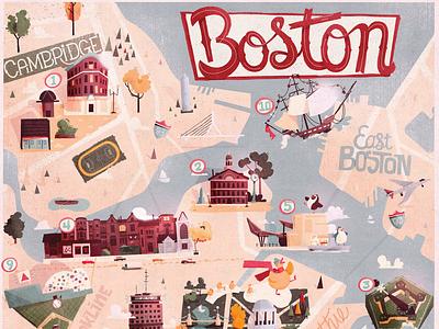 Boston illustrated map red sox baseball fenway sesame street square harvard quincy faneuil massachusetts illustrated map map boston