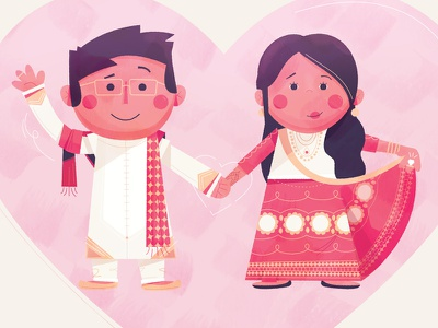 Wedding pals indian love wedding marriage illustration small world mary blair