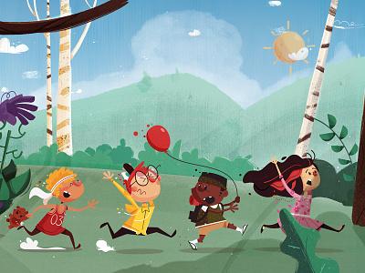 Scaredie Kids summer spring balloon scared running kidlit children kids