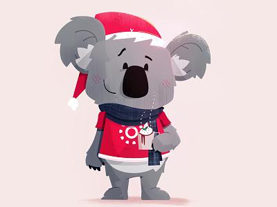 Koala Christmas christmas card mascot teddy bear koala scarf cocoa coco hot cocoa fudge christmas holiday