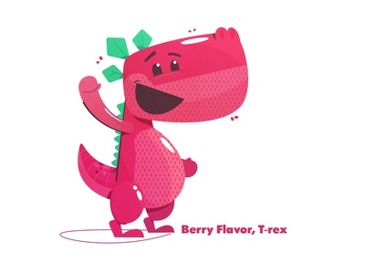 Berry Dino waving cute anthropomorphic anthropology strawberry dinosaur character design character food grocery gummy