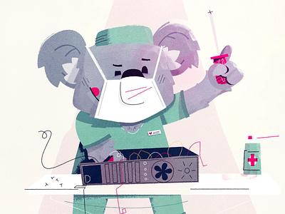 Surgery Koala health error 404 page bear illustration bear character character design character doctor surgeon surgery bear koala