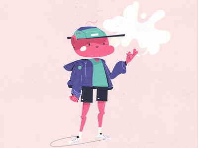Ciggies skateboarder jock shorts 5 panel hat cigarette character design character