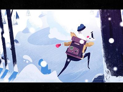 Snowy Dodge storm dodge boulder snow illustration character woods hero jugle action skeleton keyframe short film