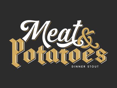 Lord Hobo Meat & Potatoes lettering black letter blackletter script brewery craft lord hobo beer