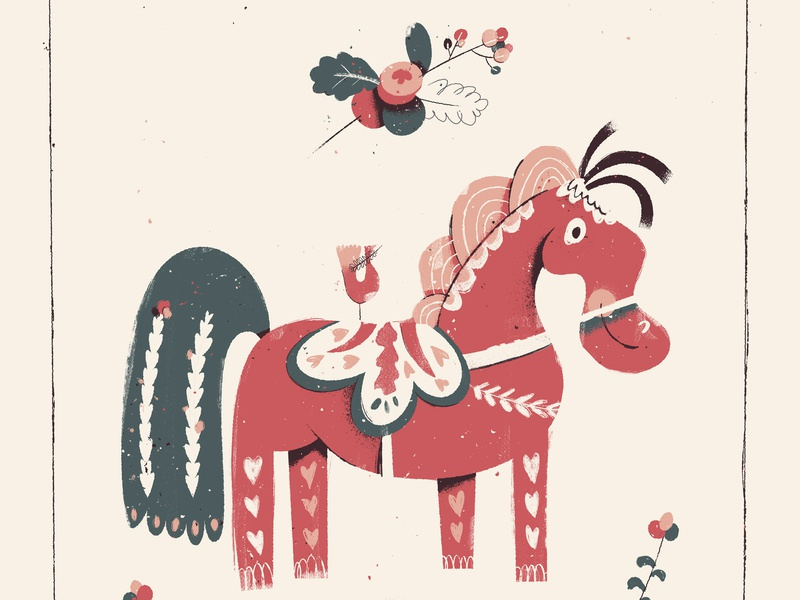Dala Horse toy design holiday card holiday illustration berry berries gift holiday christmas animal toy swedish sweden dala horse horse dala