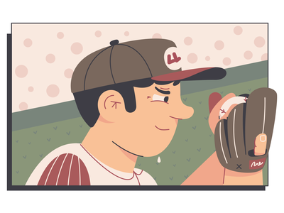 Baseball Pitcher boston character illustration focused nervous sweating crowd mlb red sox baseball pitcher sports sport sweat