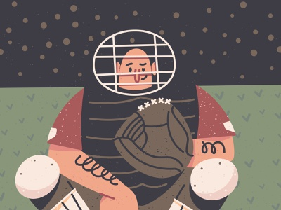 Baseball Catcher characterdesign illustration baseball bat massachusetts boston character sports mlb red sox redsox baseball catcher