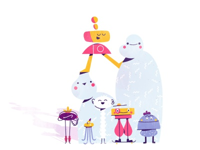 Great group of gals character friends lego stacking stacked skateboard whimsical creature