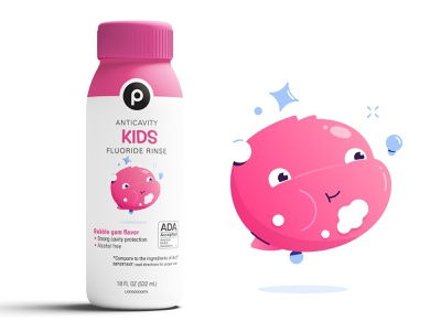 Publix Mouthwash Character illustration character gum bubblegum food packaging dieline bottle grocery publix bubble mouthwash character design
