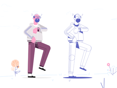 Jogging character character design jogger flowers sweating sweaty glasses beard marathon sports run runner running jogging character
