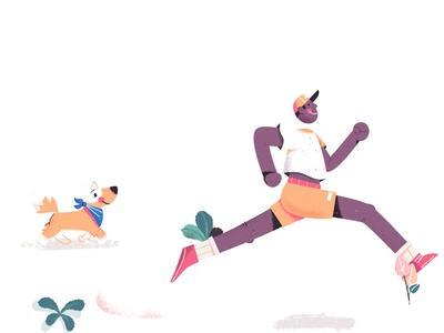 Summer Runners illustration character exercise dog puppy sneakers jogger jogging athlete athletic sports outdoors boston marathon run runner running