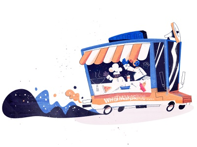 Food Truck illustration car character mural boston ketchup pizza ice cream smoke culinary cooking chef hip truck food truck