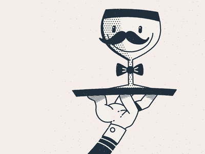 BSDS clip boston character illustration retrowave friendly tray butler mustache drink wine beer glass line linework simple mascot vintage retro