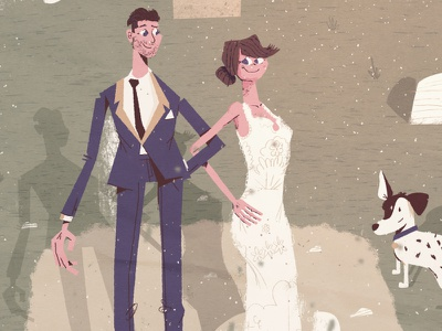 Wedding couple invite invitation illustration couples grass dog hug married marry marriage love friends character couple wedding