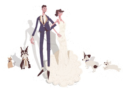 Wedding Couple illustration boston terrier terrier dapper puppy portrait animals love dress suit marriage wedding couple dogs family