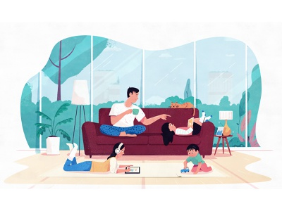 Family Time clouds character illustration family portrait relaxing relax children kids father apartment plants cozy house home ipad couch family