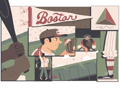 Boston Mural bat flag hat helmet mask catcher character illustration grid massachusetts mlb batter pitcher sports baseball sox red sox mural boston