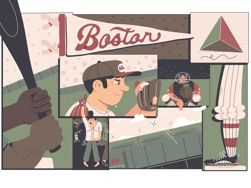 Boston Mural bat flag hat helmet mask catcher character illustration grid massachusetts mlb batter pitcher sports baseball sox red sox mural boston