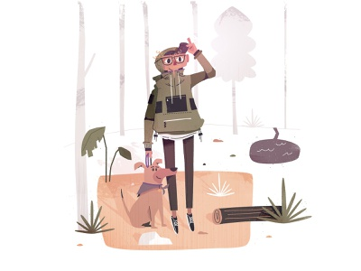 me and p scene illustration woods log river character foliage fall jacket outdoors nature hiker camp camper camping explore forest hike wander dog