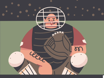 Catcher MP4 minimal massachusetts boston simple loop illustration character character design wink animation red sox mlb sports baseball catcher