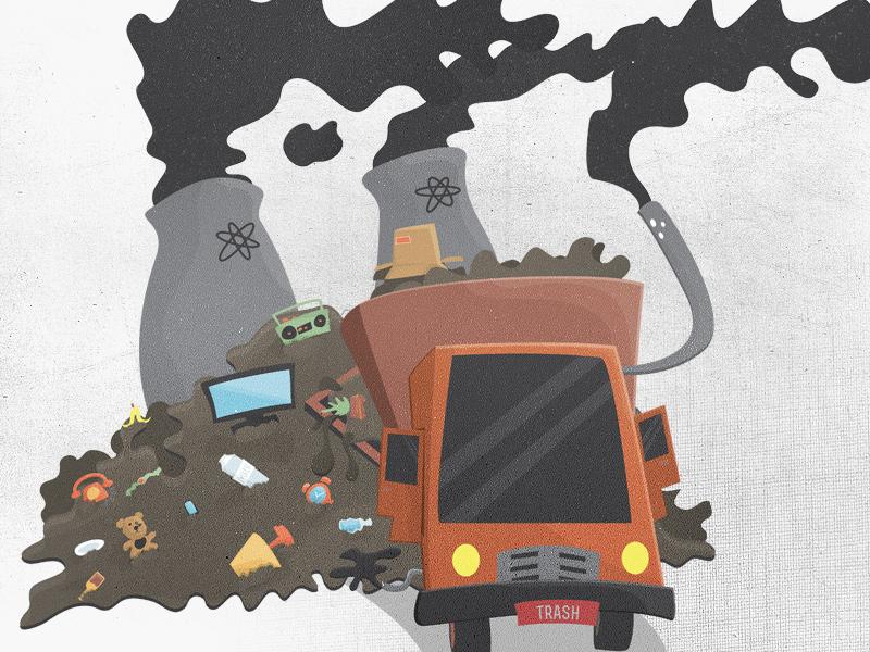 Trash truck shot
