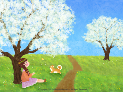 Illustration for children picture book childrens book blue sky dog beautiful girl girl green land tree flowers pear blossom spring illustration