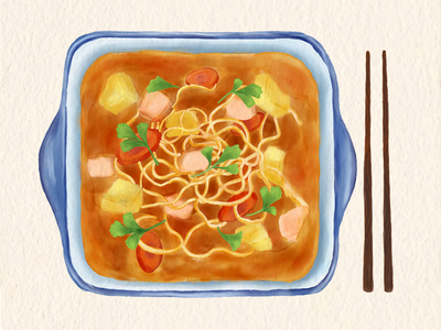 Curry Chicken Noodle tomato curry noodles food illustration
