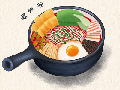 Chinese food -rice noodle river snails rice noodle noodles food illustration chinese food illustration food