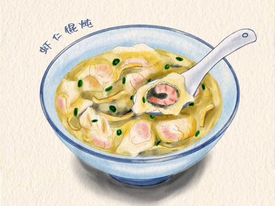 Chinese food-Wonton delicious food breakfast shrimp wonton food illustration illustration food