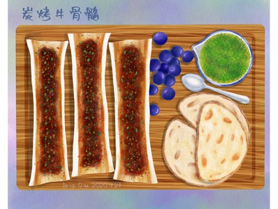 Roast beef bone marrow bread chinese food food food illustration illustration
