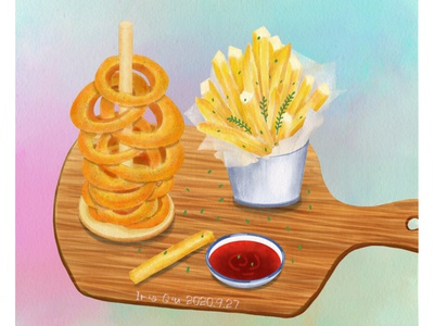 French fries and calamari rings fries food illustration food illustration