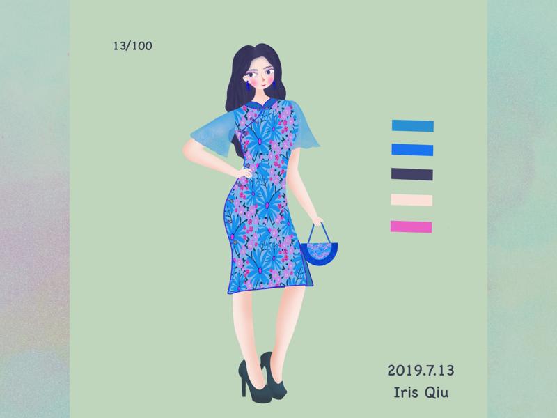 Fashion girl people cheongsam design fashion girl illustration