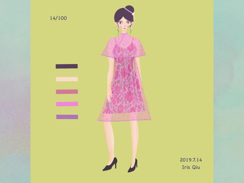 Fashion girl design cheongsam people fashion girl illustration