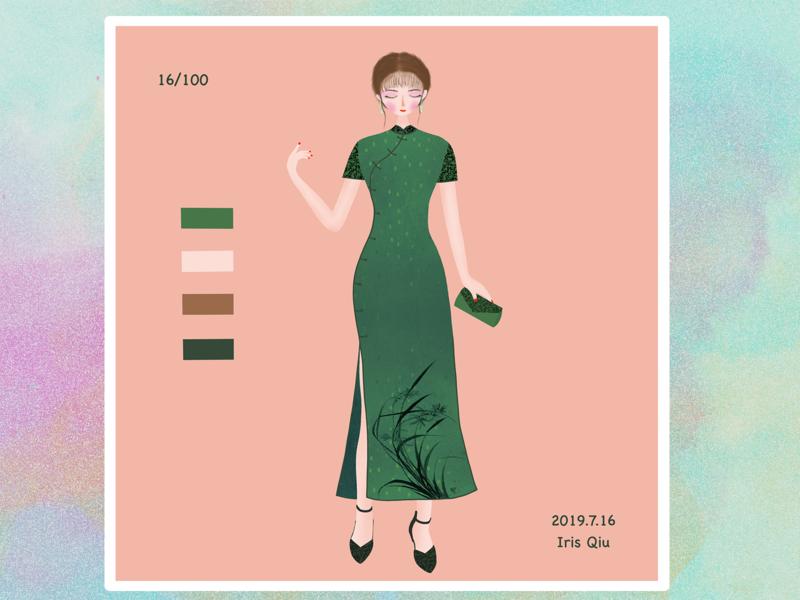 Fashion girl cheongsam people design fashion girl illustration